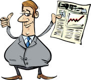 Satisfied businessman with newspaper. Cartoon illustration of businessman with newspaper satisfied for share raises Royalty Free Stock Image