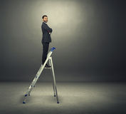 Satisfied businessman on the stepladder Stock Photography