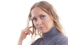 Satisfied businesswoman. The satisfied businesswoman confidently looks ahead isolated on white Stock Photography
