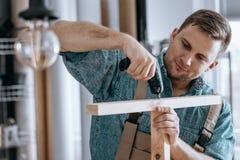 Satisfied carpenter tightening screws. While making furniture in carpentry Royalty Free Stock Image