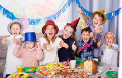 Satisfied children having party friend's birthday Royalty Free Stock Images