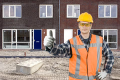 Satisfied construction worker Royalty Free Stock Images