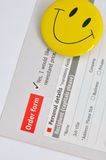 Satisfied customer and continued order. A order and survey sheet, with a smiling face, shown as successful and happy selling or business purchase, or satisfied stock photos
