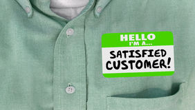 Satisfied Customer Happy Client Nametag Shirt. Words stock illustration