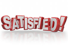 Satisfied 3d Letters Word Happy Fulfilled Customer Satisfaction. Satisfied word in red 3d letters to illustrate customer satsfaction, gratification or happy Stock Images