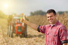 Satisfied farmer in field. Young satisfied farmer showing thumbs up, tractor on field in background Royalty Free Stock Photo