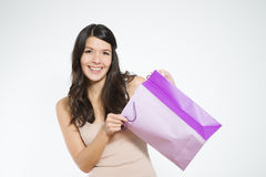 Free Satisfied Female Customer With Her Purchase Royalty Free Stock Photo - 35557265