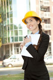 Satisfied female engineer Stock Photo