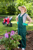 Satisfied female gardener Stock Photos
