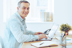 Satisfied with his work. Royalty Free Stock Image