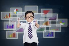 Satisfied little businessman Royalty Free Stock Image