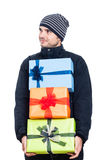 Satisfied man with presents stock images