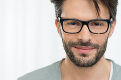 Satisfied man with spectacle Stock Photos