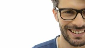 Satisfied man wearing specs stock footage