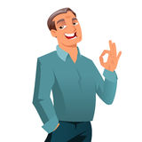 Satisfied mature man. Satisfied mature business man gesturing ok sign Royalty Free Stock Image