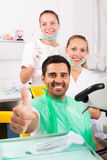 Satisfied patient at the dentist Stock Photo