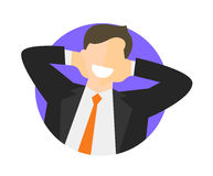 Satisfied relaxing businessman flat icon. Work done concept. Happy impersonal man. Vector image Stock Photo