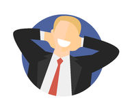 Satisfied relaxing man flat icon. Work done concept. Happy impersonal businessman. Vector image Royalty Free Stock Image
