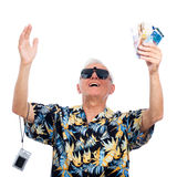Satisfied rich senior. Satisfied happy rich senior man with money, isolated on white background stock photos