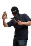 Satisfied robber takes money from stolen wallet. Stock Photography