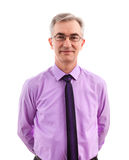 Satisfied. Senior business man standing isolated Royalty Free Stock Photos