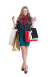Satisfied shopping lady Stock Images