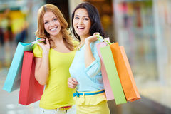 Satisfied with shopping Royalty Free Stock Images