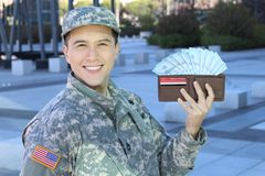 Satisfied soldier with a good salary.  stock image