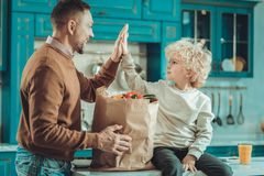 Satisfied son and dad looking at each other. Well done. Satisfied smiling son and dad looking at each other while spending time in the kitchen royalty free stock photo
