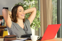 Satisfied student at home Stock Image