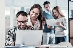Satisfied unshaken man sitting near colleague and using the laptop. Its better now. Satisfied unshaken bespectacled men sitting in the bright room near the Royalty Free Stock Image