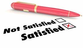 Satisfied Vs Non Satisfaction Check Mark Box Pen Royalty Free Stock Image