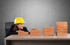 Satisfied woman architect. Admires her financial growth Stock Photography