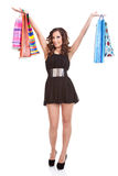Satisfied woman holding shopping bags Royalty Free Stock Photography