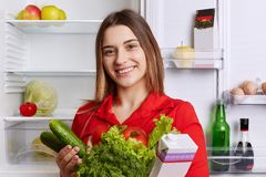 Satisfied woman holds fresh vegetables and milk, going to put them in refridgerator, has broad smile and happy expression, being v Stock Photography