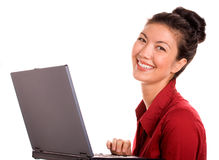 Satisfied Woman With Laptop Stock Photography