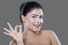 Satisfied woman after skin treatment Stock Image