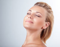 Satisfied woman at spa Royalty Free Stock Photos
