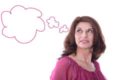 Satisfied woman with speech balloon isolated. Royalty Free Stock Photos