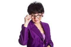 Satisfied woman wearing glasses Royalty Free Stock Photos