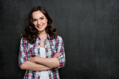 Satisfied Young Woman stock images