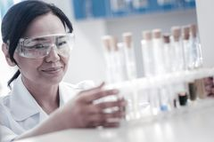 Satisfies female scientist examining test tubes with liquids. Innovative studies. Selective focus on a positive minded mature lady in safety glasses smiling stock photography