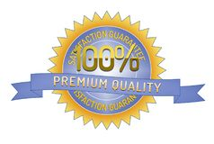 100% Satisftaction Guarantee premium quality. 100% Satisfaction Guarantee premium quality badge and ribbon style design element on white background Royalty Free Stock Photography