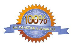 100% Satisftaction Guarantee stamp on white. 100% Satisfaction Guarantee badge and ribbon style design element on white background Royalty Free Stock Photos