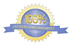 100% Satisftaction Guarantee stamp on white. 100% Satisfaction Guarantee badge and ribbon style design element on white background Stock Photos