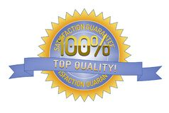 100% Satisftaction Guarantee Top Quality. 100% Satisfaction Guarantee Top Quality badge and ribbon style design element on white background Royalty Free Stock Images