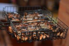 Satisfying läckert grillat kött på gallret Royaltyfri Foto