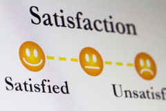 Satistfaction Survey. A satisfatction survey shows a happy and unhappy face royalty free stock image