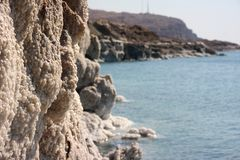 Satly stones at the coast of dead sea Stock Images