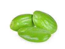 Sato, graines de speciosa de parkia ou haricot amer d'isolement sur le blanc Photos stock